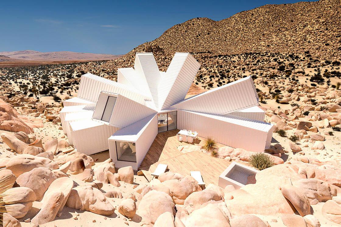 Uma casa geométrica construída no deserto e a partir de containers