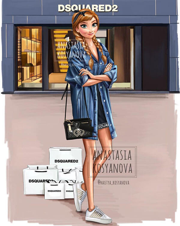 19 lindas ilustrações das Princesas da Disney usando marcas de luxo