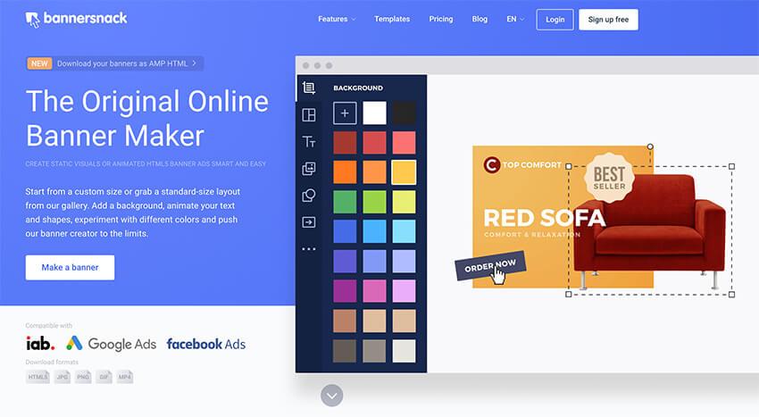 Bannersnack é uma ferramenta de design on-line para profissionais