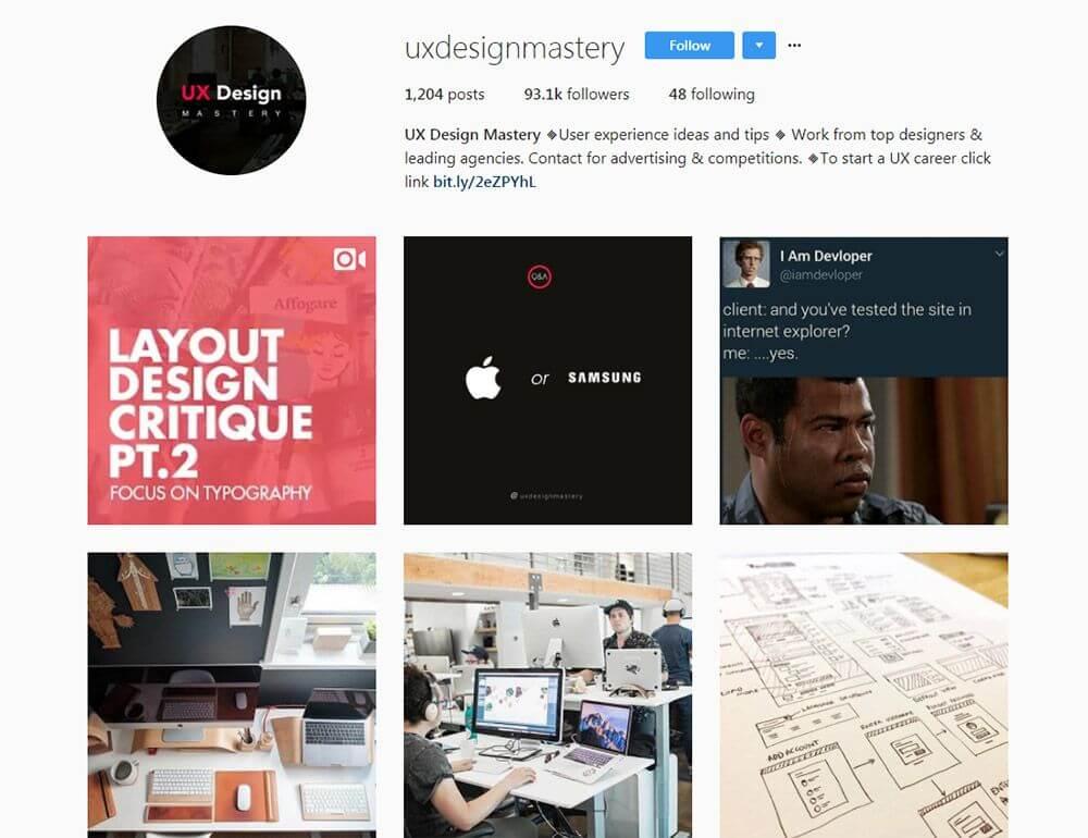 11 contas do Instagram para Inspiração de Design UI e UX