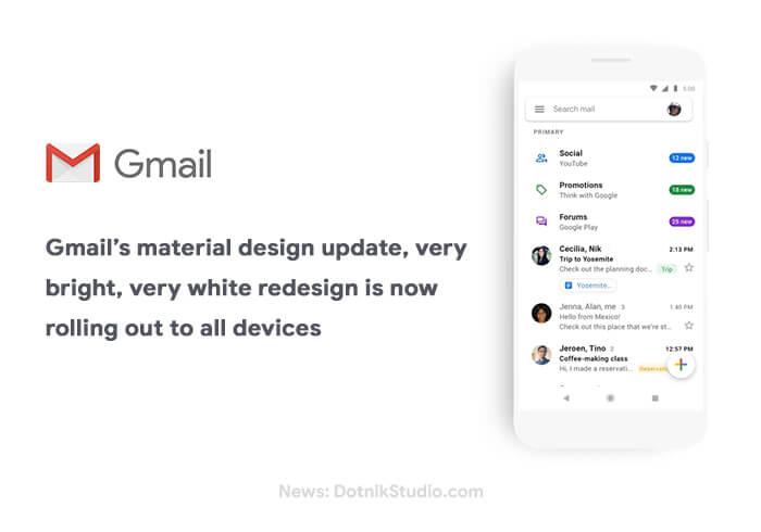 A atualização do design do material do Gmail, replicação muito brilhante e muito branca está sendo lançada em todos os dispositivos