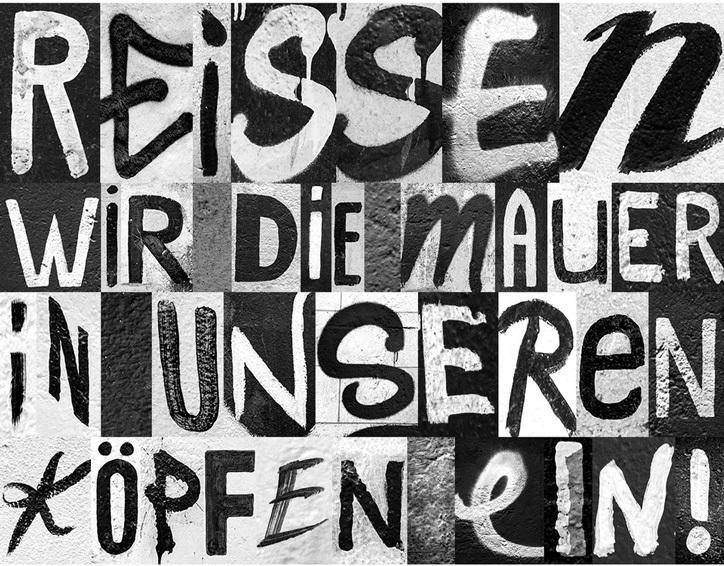 """O grafite do Muro de Berlim é transformado em um tipo de letra para avisar como """"a divisão é a maior ameaça da liberdade"""""""