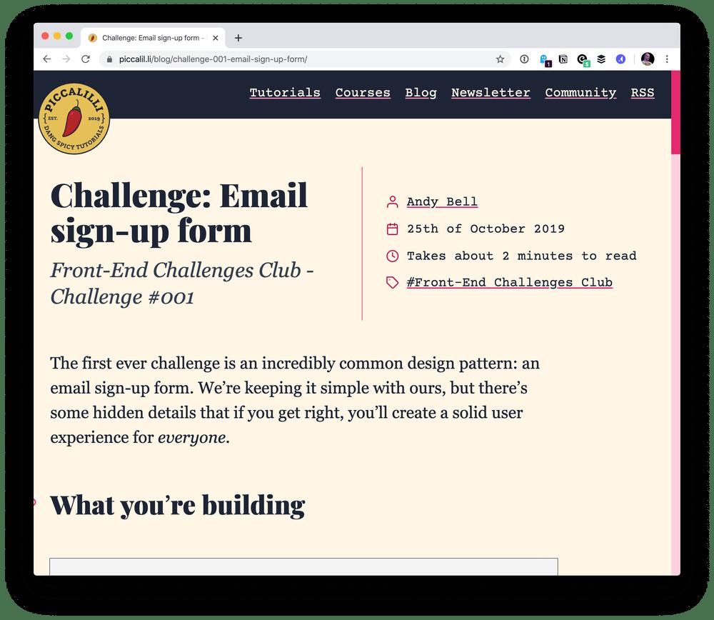 Desafios de front-end