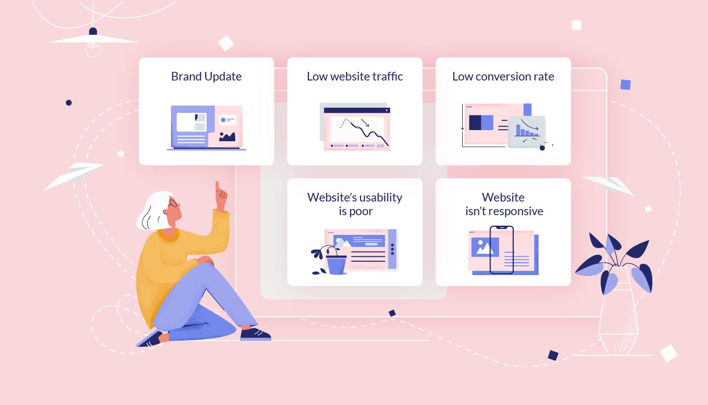 Quais são os motivos para redesenhar seu site?