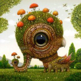 Criaturas fantásticas imaginadas de olhos arregalados de Naoto Hattori